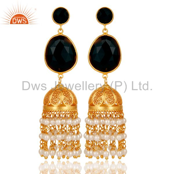 Traditional Jhumka Earring 18K Gold Plated 925 Sterling Silver with Onyx & Beads