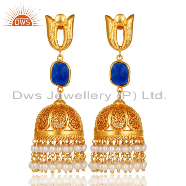 18K Gold Plated Jhumka Earrings with 925 Sterling Silver & Aventurine