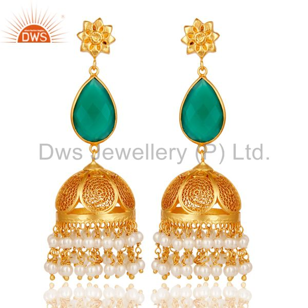 Green Onyx & Pearl Jhumka Earrings with 18k Gold Plated Sterling Silver