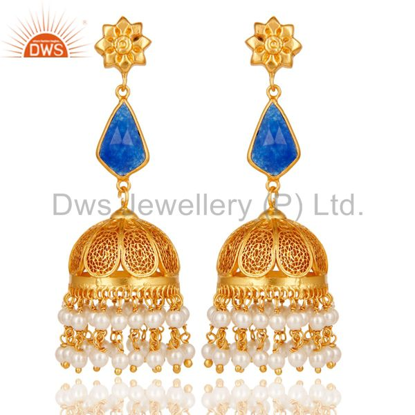 Aventurine & Pearl Jhumka Earrings with 18k Gold Plated Sterling Silver