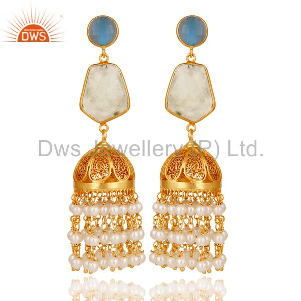 Chalcedony, Peal & Onyx Jhumka Earrings with 18k Gold Plated Sterling Silver