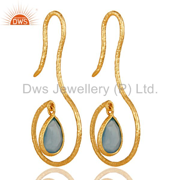 18k Yellow Gold Plated Sterling Silver Handmade Hang In Hook Chalcedony Earrings