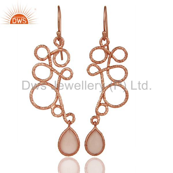 18K Rose Gold Plated 925 Sterling Silver Zig Zag Style Chalcedony Drops Earrings