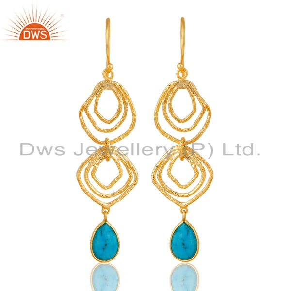 Turquoise Asymmetrical Dangle 14K Gold Plated 92.5 Sterling Silver Earring