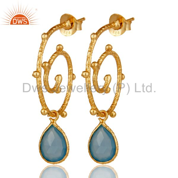 18k Gold Plated Sterling Silver Dyed Chalcedony Wedding Style Bezel Set Earrings