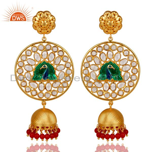 18K Gold Plated 925 Sterling Silver Red Coral & White Zircon Jhumka Earrings