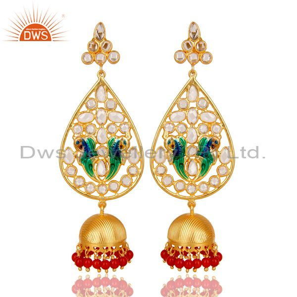 18K Gold Plated 925 Sterling Silver White Zircon & Red Coral Jhumka Earrings