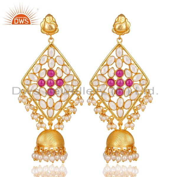 18K Gold Plated 925 Sterling Silver Pearl Beads, Red Glass & CZ Jhumka Earrings