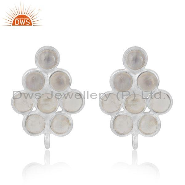 Sterling Fine Silver Rainbow Moonstone Stud Earrings Findings Manufacturer India