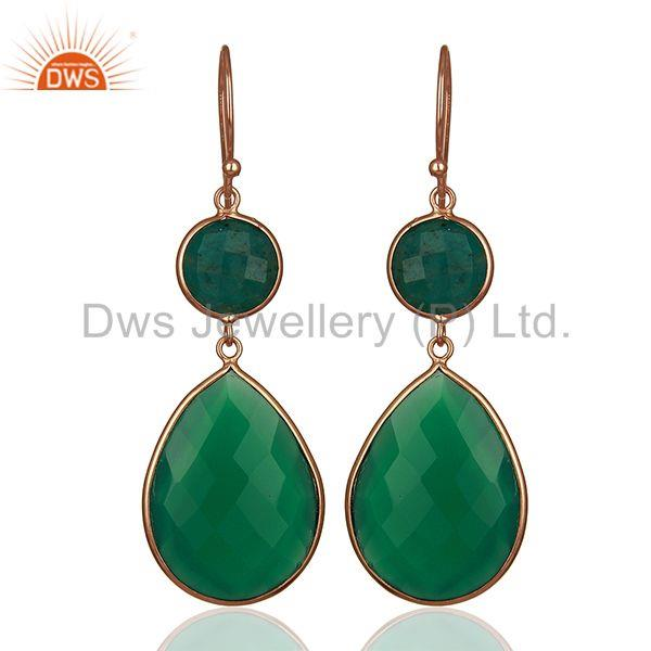 Green Gemstone Rose Gold Plated 925 Silver Dangle Earrings Suppliers