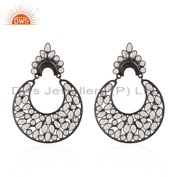 925 Sterling Silver White Zircon Black Color Earrings Manufacturer from India