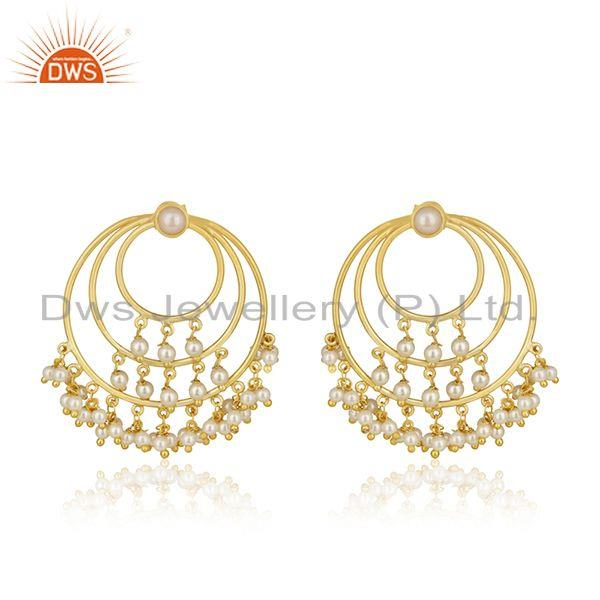 Natural Pearl Gold Plated Sterling Silver Traditional Earrings For Wedding