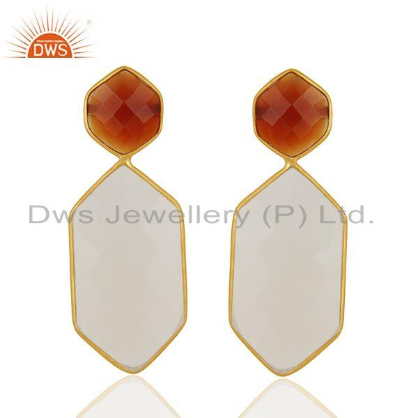 Carnelian and White Chalcedony Gemstone 925 Silver Earrings Manufacturer
