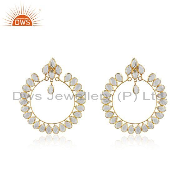Gold Plated 925 Silver CZ Designer Indian Earring Jewelry