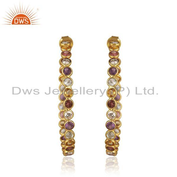 Natural Multi Gemstone Gold Plated 925 Silver Hoop Earring Supplier