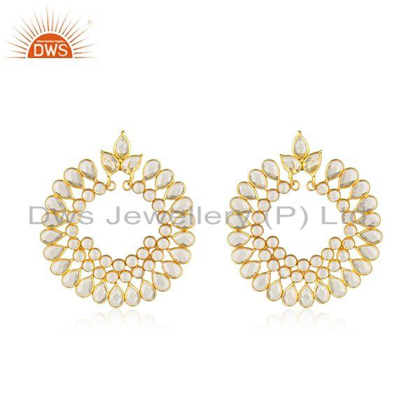 White Zircon Designer Chand Bali Silver CZ Earrings Jewelry