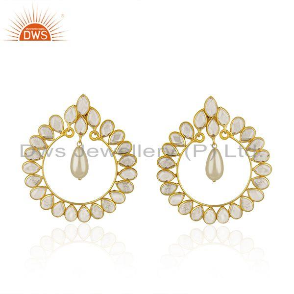White Zircon and Pearl Gemstone Gold Plated 925 Silver Earrings Manufacturer