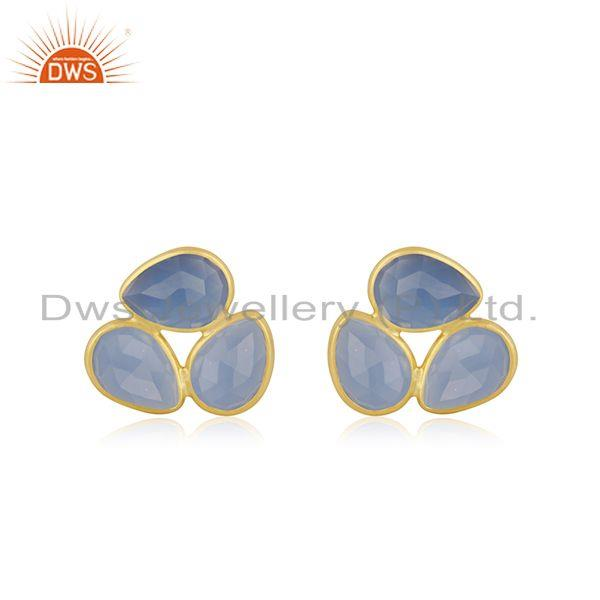 Yellow Gold Plated Silver Blue Chalcedony Gemstone Stud Earrings Supplier