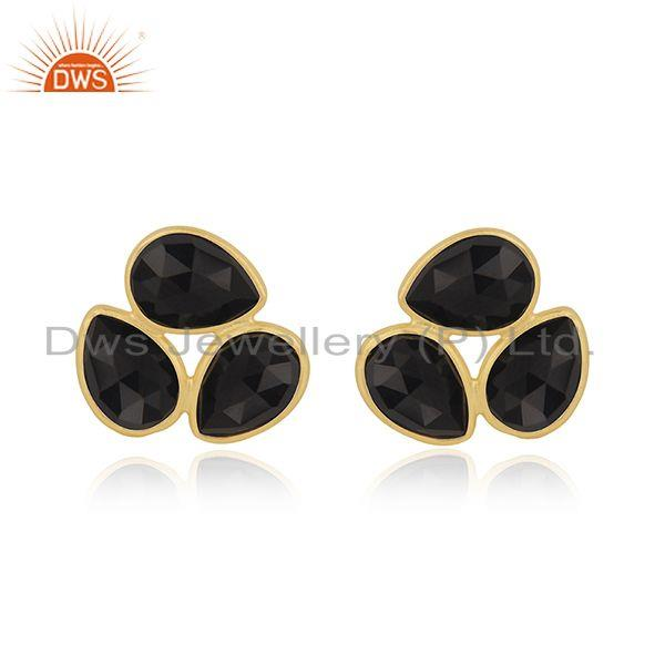 Black Onyx Gemstone Sterling Silver Gold Plated Stud Earring Wholesale