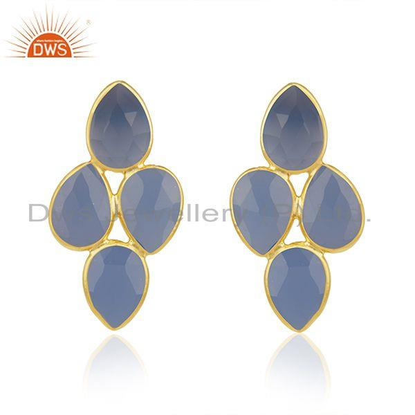 925 Silver Gold Plated Blue Chalcedony Gemstone Womens Earrings Jewelry