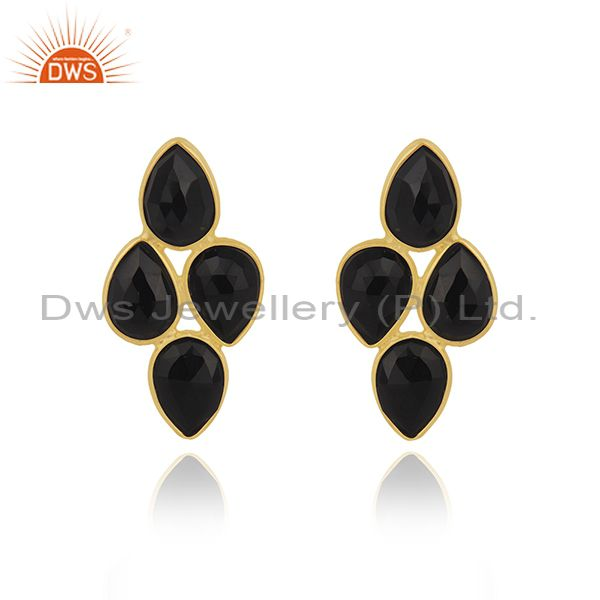 Black Onyx Gemstone Yellow Gold Plated 925 Silver Stud Earring Manufacturer