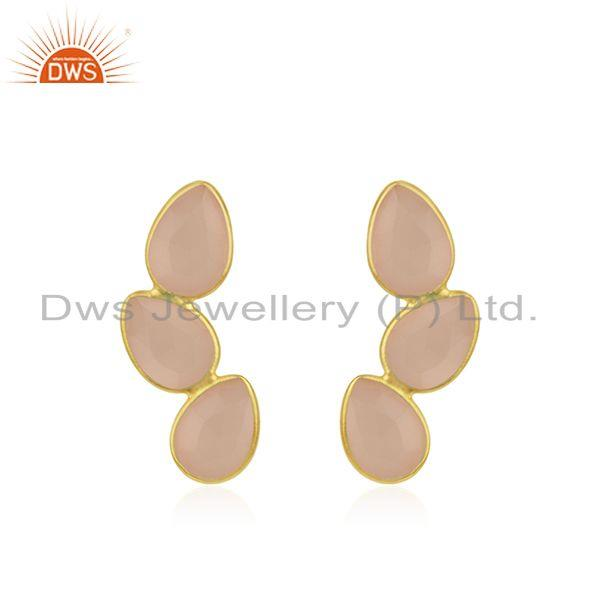 Rose Chalcedony Gemstone Gold Plated 925 Silver Stud Earring Wholesaler