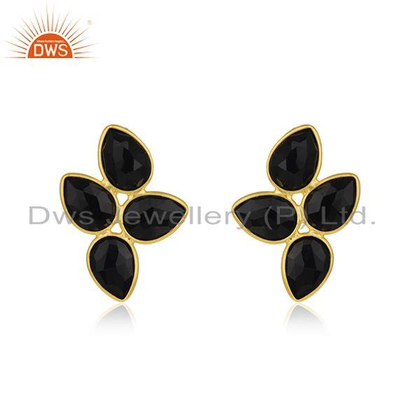 Natural Black Onyx Gold Plated Silver Gemstone Earrings Jewelry