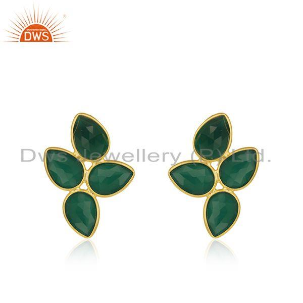Natural Green Onyx Gold Plated Designer Silver Earrings Jewelry