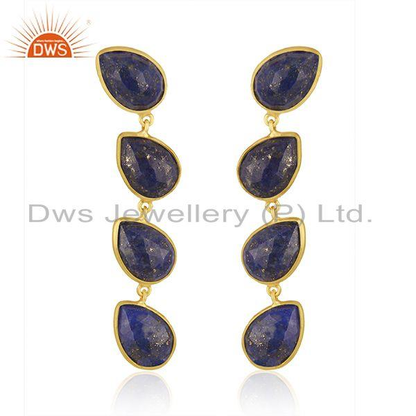 Natural Lapis Gemstone 18k Gold Plated 925 Silver Dangle Earrings Jewelry