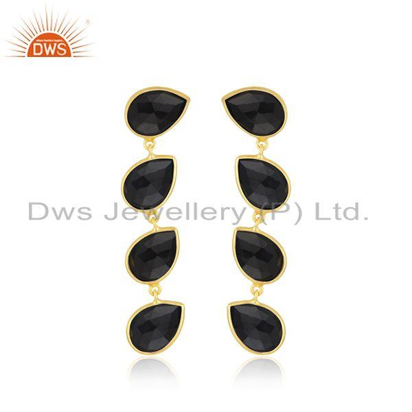 Natural Black Onyx Gemstone Dangle Earring Silver Gold Plated Jewelry
