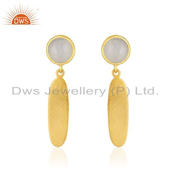 Rainbow Moonstone Designer 18k Gold Plated Silver Earrings Jewelry Supplier