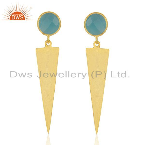 18 Gold Plated Designer Silver Aqua Chalcedony Earrings Jewelry