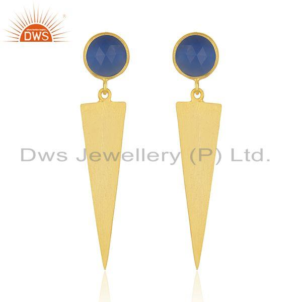 Natural Blue Chalcedony Gemstone Gold Plated Silver Earrings Jewelry