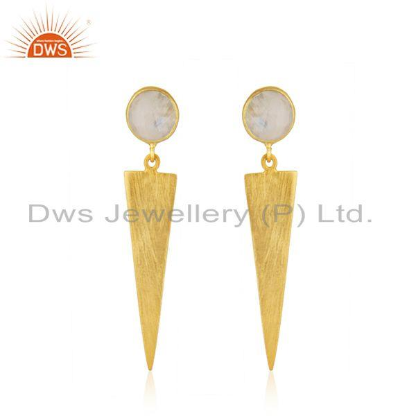 New Arrival 18k Gold Plated Silver Rainbow Moonstone Earrings Jewelry