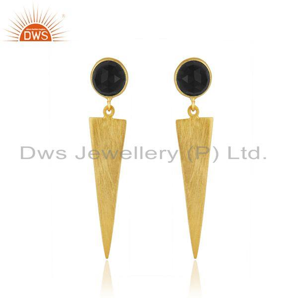 Black Onyx Gemstone Designer Silver Gold Plated Earrings Jewelry Supplier