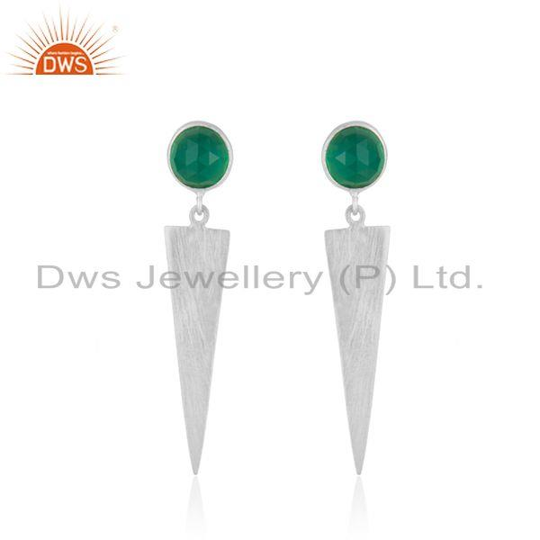 Handmade 925 Silver Natural Green Onyx Gemstone Earrings Jewelry
