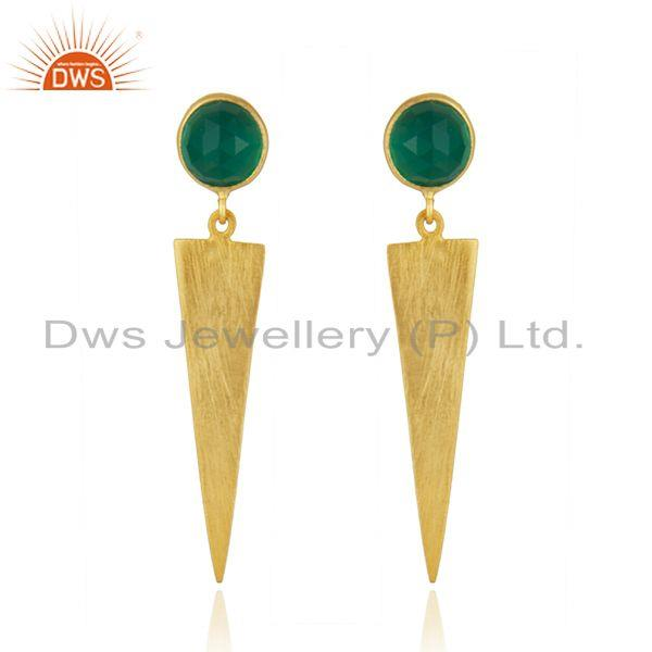 Handmade Gold Plated 925 Silver Green Onyx Gemstone Earrings Jewelry