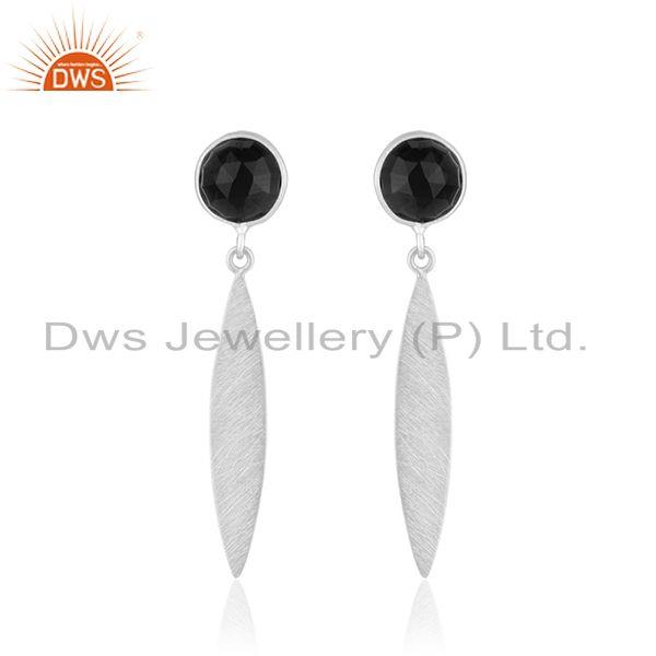Manufacturer Fine Silver Natural Black Onyx Gemstone Earrings Jewelry