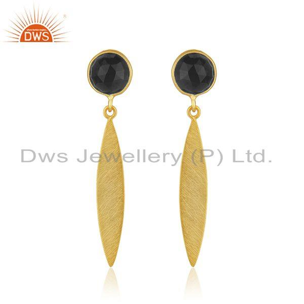 Handcrafted Gold Plated Sterling Silver Black Onyx Gemstone Earrings