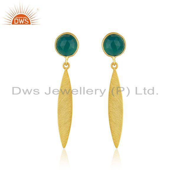 Yellow Gold Plated Silver Green Onyx Gemstone Earrings Jewelry