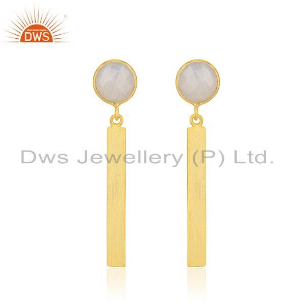 Rainbow Moonstone Yellow Gold Plated Sterling Silver Earrings Supplier