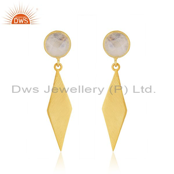 Rainbow Moonstone Wholesale Designer Gold Plated Silver Earrings Supplier