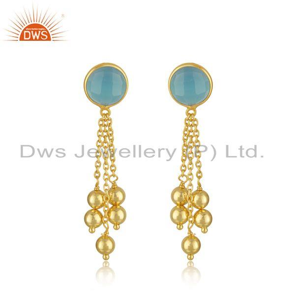 New arrival Gold Plated Silver Aqua Chalcedony Gemstone Earrings Jewelry