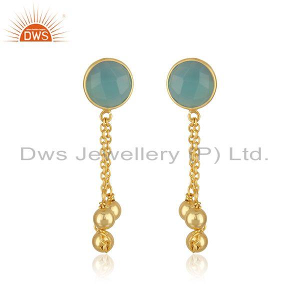 Aqua Chalcedony Gemstone 925 Silver Gold Plated Chain Earring Manufacturer India
