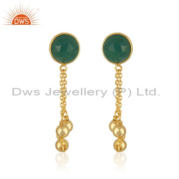 Designer Gold Plated Silver Womens Green Onyx Earrings Jewelry
