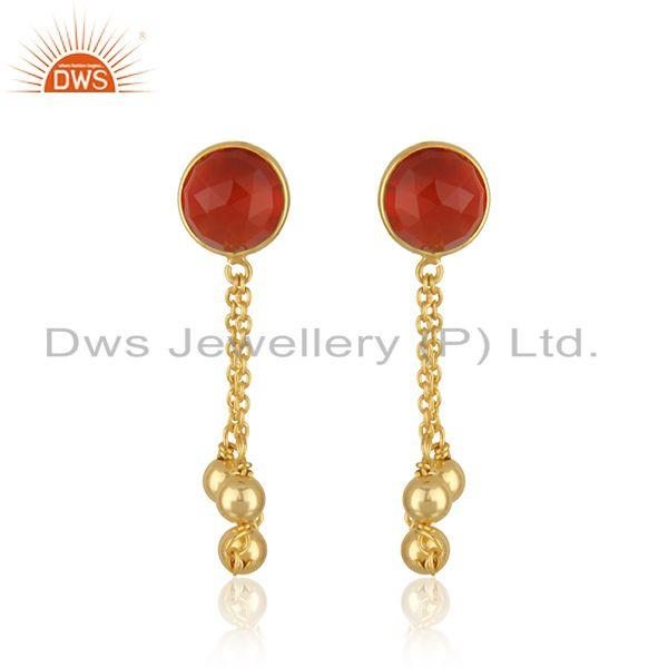 14k Gold Plated Silver Red Onyx Gemstone Earrings Jewelry Supplier