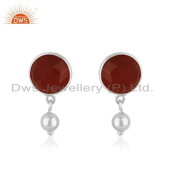 Natural Red Onyx Gemstone Earring Indian Designer Earrings Silver Jewelry