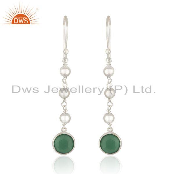 925 Sterling Silver Designer Silver Green Onyx Earrings Jewelry