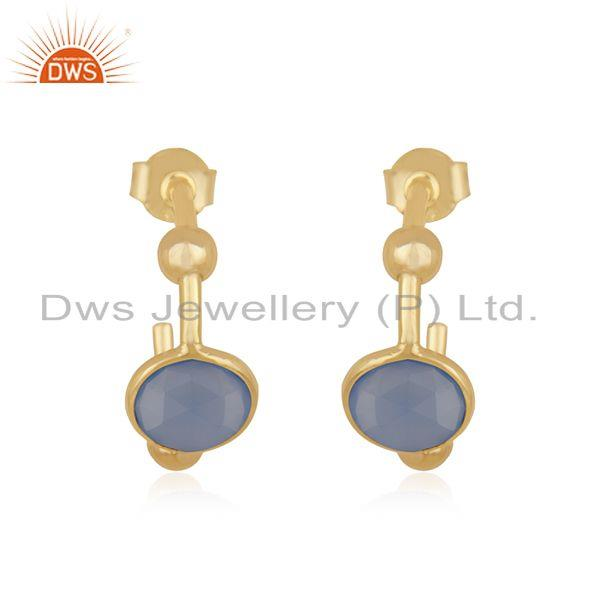 Blue Chalcedony Gemstone Gold Plated 925 Silver Hoop Earring Manufacturer Jaipur