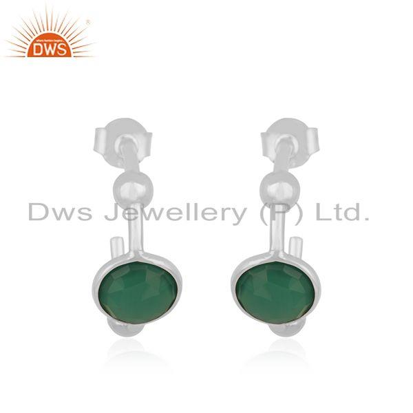 Designer 92.5 Mark Sterling Silver Green ONyx Gemstone Hoop Earring Manufacturer